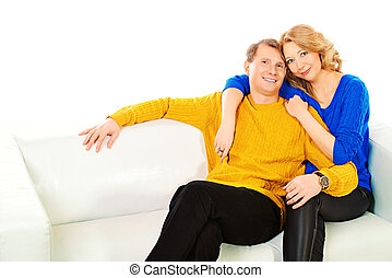closest people - Portrait of a happy elderly couple sitting...