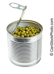 Tin with green peas