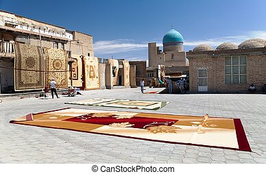 Carpet market in Bukhara - Bukhara, Uzbekistan, 16th of july...
