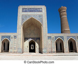 Bukhara - View of Kalon mosque and minaret - Bukhara -...