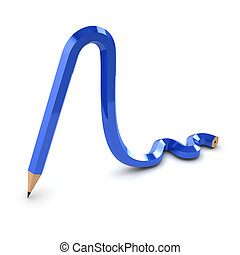 3d Blue bendy pencil - 3d render of a pencil bent as if made...