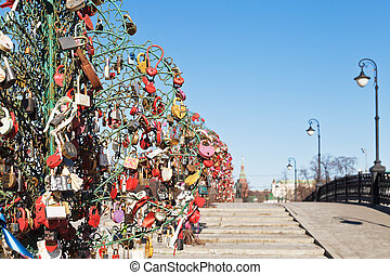 Luzhkov bridge in spring, Moscow - Love Tree with...