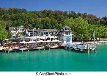 Restaurant on the shore of Lake Worth. Carinthia. Resort...