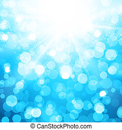 Blurred Blue Vector Background With Sun rays and bokeh -...