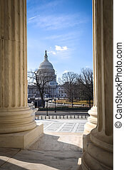 View of Capitol Hill through the Supreme Court
