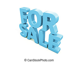 3d For sale - For sale icon on a white background 3D...