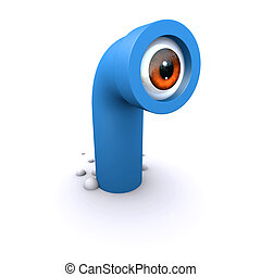 3d Periscope appears from nowhere - 3d render of a cartoon...