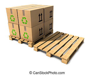 3d Wooden shipping pallets