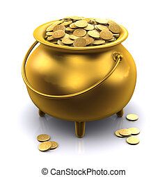 3d Pot of gold - 3d render of a gold cauldron full of gold...