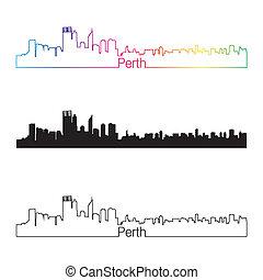 Perth skyline linear style with rainbow in editable vector...