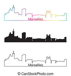 Marseilles skyline linear style with rainbow in editable...