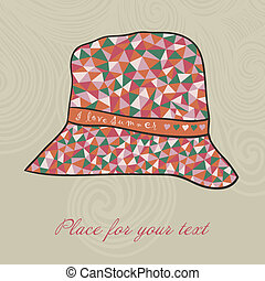 fashion hat made of triangles fabric, I love summer hat