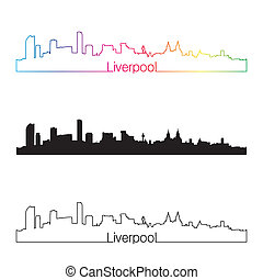 Liverpool skyline linear style with rainbow in editable...