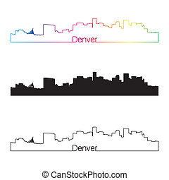 Denver skyline linear style with rainbow in editable vector...