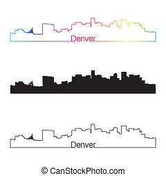 Denver skyline linear style with rainbow in editable vector...