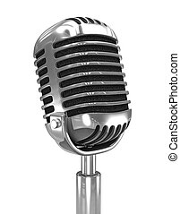 3d Old radio microphone - 3d render of an old retro radio...