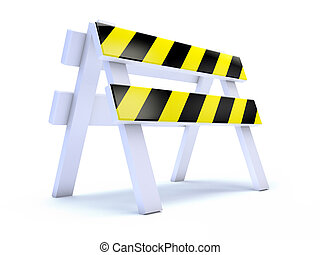 3d Yellow striped road works barrier - 3d render of a yellow...