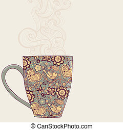 coffee and tea mug with floral pattern. Cup background. Hot drink in the beautiful mug.