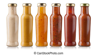 barbecue sauces - the various barbecue sauces in glass...