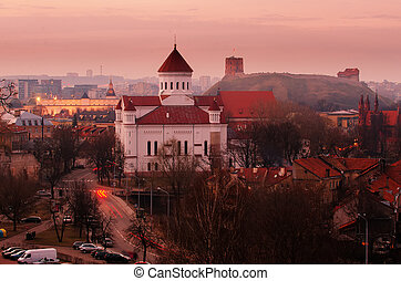 Vilnius, Lithuania at night. View from The Bastion of City...