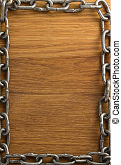 metal chain on wood  - metal chain on wooden background