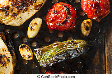 Healthy Organic Roasted Vegetables with Peppers, Tomatoes,...