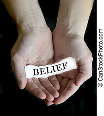 Hands Holding Cupping Paper Message Belief