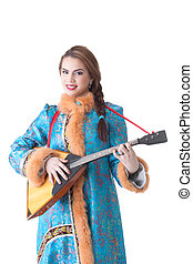 Charming Russian girl playing balalaika in studio, isolated...