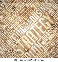 Strategy - Grunge Beige-Brown Wordcloud.