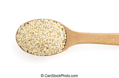 sesame seed in spoon isolated on white background