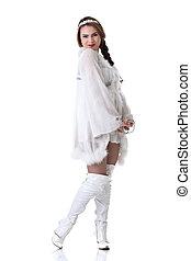 Pretty Russian girl posing in white folk dress - Image of...