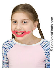 Girl playing the clown on a white background