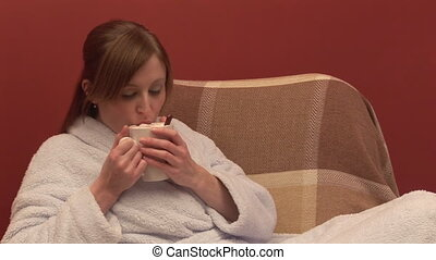 Stock Footage of a Woman Drinking Coffee
