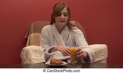 Stock Footage of a Woman Eating Breakfast - Stock Footage...