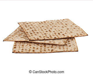 Matzo - Three matzot on white background. Matzo - jewish...