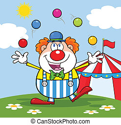 Funny Clown In Front Of Circus Tent