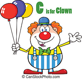 Clown With Balloons And Letter C