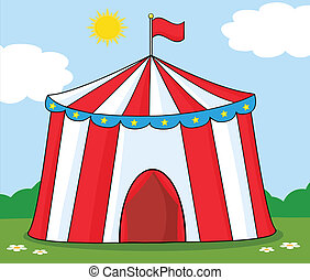 Big Circus Tent On Meadow Cartoon Character