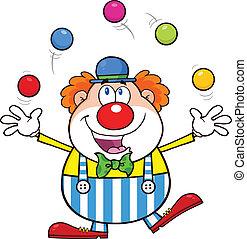 ENGRAÇADO, Palhaço, juggling, com, Bolas