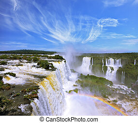 Multi-tiered cascades of water - The grand Iguazu Falls on...