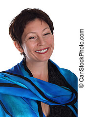 middle aged woman smiling against white background