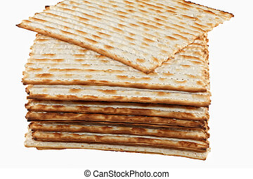 Matzo - matzot on white background. Matzo - jewish passover...