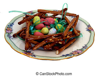 Pretzel Nest with Eggs (Easter) - pretzel nest with easter...