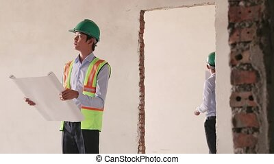 asian construction site with worker