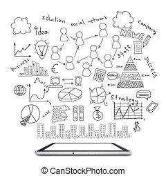 tableta, dibujos, empresa / negocio, plan
