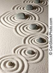 Zen stones - Stones on raked sand Zen concept