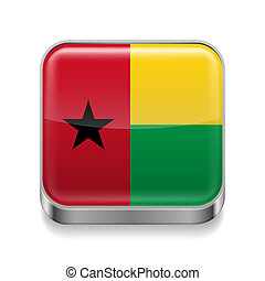 Metal icon of Guinea Bissau - Metal square icon with flag...