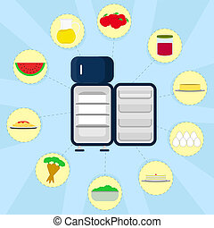 Food in the refrigerator - Empty refrigerator and various...