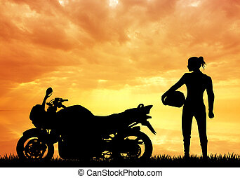 woman motorcyclist - illustration of woman motorcyclist