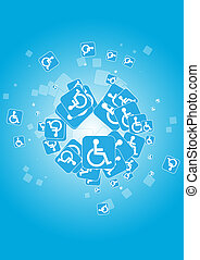illustration blue handicapped icon